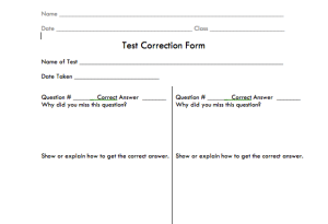 Assignment Correction Form